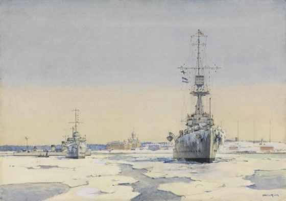 Libau Harbour, January-February 1919  HMS Caledon and destroyers Wrestler and Valhalla. (Imperial War Museum UK)
