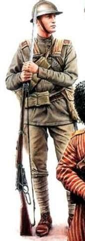 Рядовой 5-го Латышского стрелкового полка, 1916-1917 гг. Стрелок вооружен винтовкой системы Винчестер, 30-го калибра, образца 1895г. Снаряжение у него брезентовое, т.к. во время войны кожа стала дефицитом. Копия французской каски Адриана изготавливалась на финских заводах и предназначалась, в основном, для латышских и чехословацких частей; отличительной особенностью этих образцов было отсутствие отверстий для крепления спереди государственного герба. Корниш Н. - Русская армия 1914-1918 гг. http://www.fb2book.com/?kniga=13439&strn=18&cht=1
