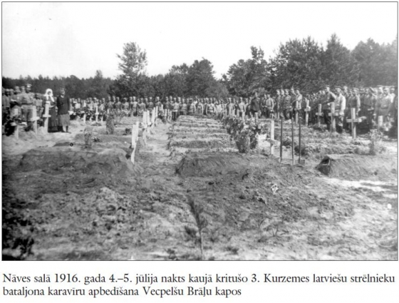 Naves sala 1916. gada 4.–5. julija nakts kauja krituso 3. Kurzemes latviesu strelnieki.