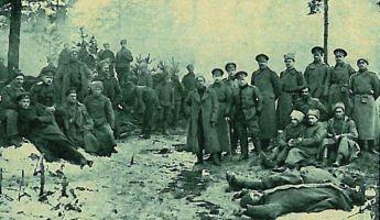 5.-Zemgales latviešu strēlnieku bataljona apmetne pie Kuģu mājām pēc 8. -21-.marta kaujām.