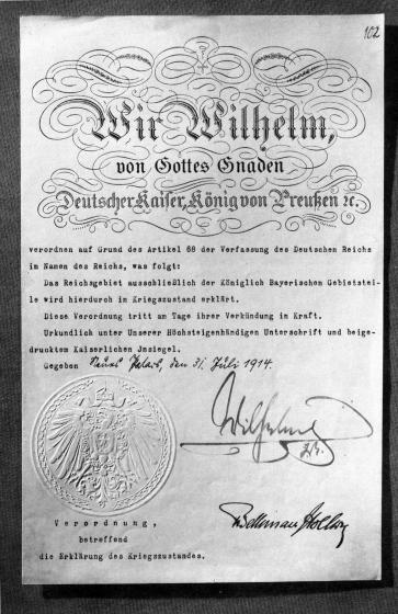 31.07.1914  Документ объявления Первой мировой войны, подписанный императором Германии Вильгельмом