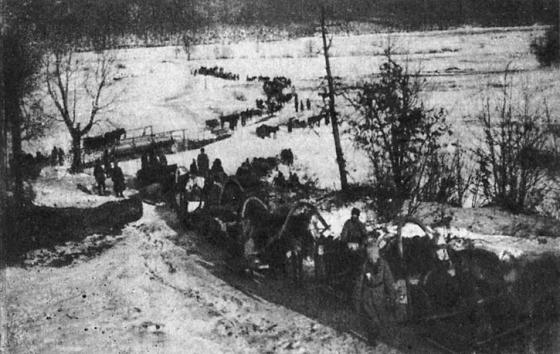 Обоз штаба 3-й латышской стрелковой бригады в пути из Змиева в Александровск в январе 1920 года