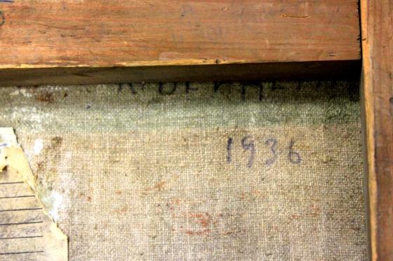 Картина красного латышского стрелка. К.Я. Вейдеман, 1936, холст, масло, подпись, название не известно. г. Королёв, антикварный магазин