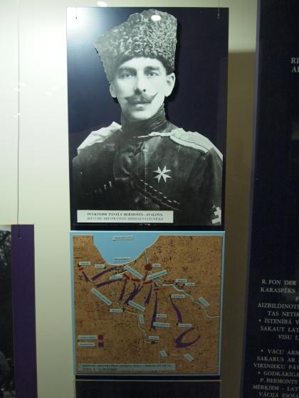 Павел Бермонт-Авалов. На карте положение под Ригой в октябре 1918 года (синие -