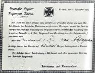 Удостоверение на 50 га земли в Курземе на имя лейтенанта Шлагетера по договору между немецким легионом и командующим Западной добровольческой армии П.Бермонтом