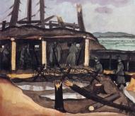 """Jāzeps Grosvalds. Piecsimt soļu no vāciešiem. (1916) (variants - """"Daugavas krastos"""")"""