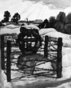Jāzeps Grosvalds. Strēlnieka kaps. Zīmulis, akvarelis, guaša, apm. 24 x 30 cm, 1914.-1915.