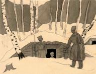 Jāzeps Grosvalds. Strēlnieki ziemā. (1916)