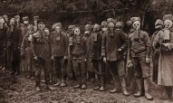 russian side of the eastern front. soldiers wearing early gas masks 1916