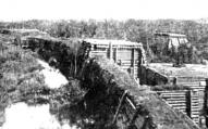 Vācu valnis - ap 30 km gara fortifikācijas būve pāri Tīreļa purvam no Ložmetējkalna līdz Olainei.1917.