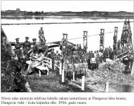 Naves salas aizstavju telefona kabelis sakaru uzturesanai ar Daugavas labo krastu,