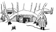 """""""Ieeja strēlnieku zemnīcā"""". Mākslinieka J. Grosvalda zīmējums. Avots Latviešu strēlnieku bataljoni, Skices un epizodes, sastādījis Līgotņu Jēkabs, Pēterpilī 1916. g."""