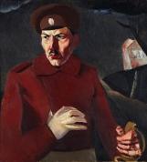 """Jēkabs Kazaks. """"Strēlnieks"""" (Kārļa Baltgaiļa portrets). 1917. Audekls, eļļa."""