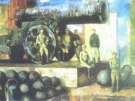 """Андрейс Германис """"Стражи революции"""" (""""Красные латышские стрелки в Кремле""""), 1970. х/м, 120 х 160."""
