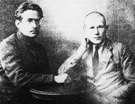 """T. Draudiņš un K. Ozoliņš (""""Brīvā Strēlnieka"""" redaktori pēc strēlnieku II kongresa)"""