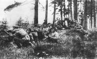 Стрелки 4-й роты 8-го стрелкового полка Советской Латвии под Бауской весной 1919 года.