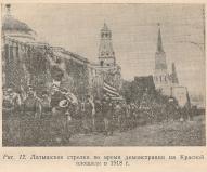 Латышские стрелки во время демонстрации на Красной площади 1918