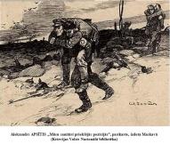 """Aleksandrs Apsitis """"Musu sanitari prieksejas pozicijas"""", pastkarte, izdota Maskava"""