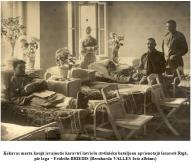 Kekavas marta kauja ievainotie karaviri latviesu strelnieku bataljonu apvienotaja lazarete Riga, pie loga – Fridrihs BRIEDIS (Bernharda VALLES foto albums)