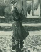 И. Заринь. На посту (левая часть триптиха «Солдаты революции»). 1963. Холст, масло. Москва. Государственная Третьяковская галерея.