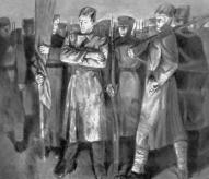 И. Заринь. Речь (центральная часть триптиха «Солдаты революции»). 1965. Третьяковская галерея. Москва.