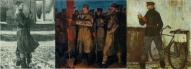 И. Заринь. Солдаты революции (триптих). 1963. Холст, масло. Москва. Государственная Третьяковская галерея.